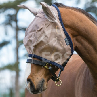 Maska na hlavu Horseware Amigo UV Protection Shetty bronz/tm.modrá